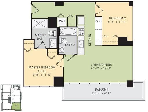 C1 - 2 Bedroom 2 Bathroom