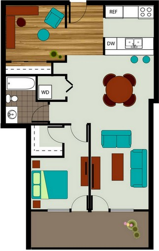 1 Bedroom 1 Den 1 Bath