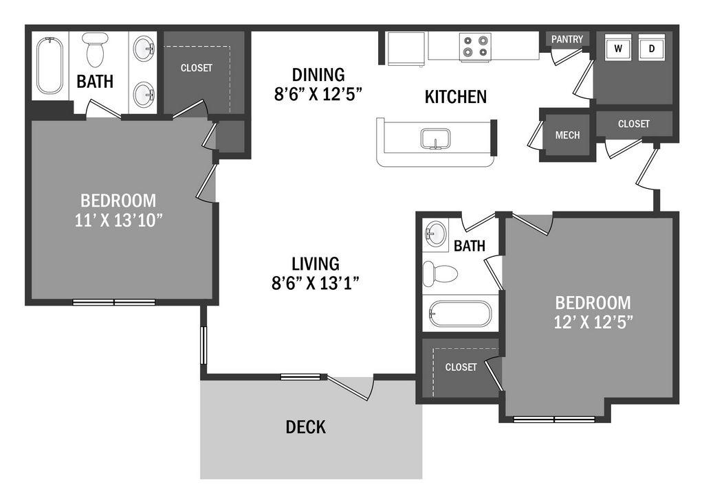 Floor Plan 2 Bedroom, 2 Bathroom