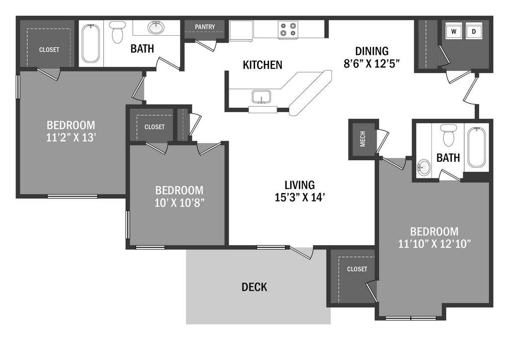 Floor Plan 3 Bedroom, 2 Bathroom