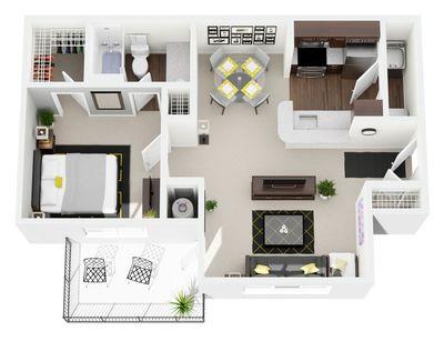 Layout of 1 Bedroom, 1 Bathroom floor plan