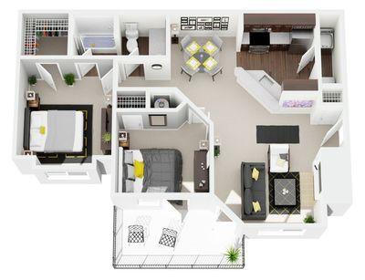 Layout of 2 Bedroom, 1 Bathroom floor plan