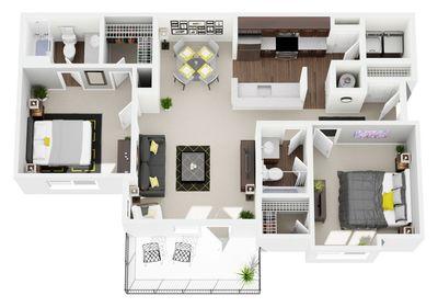 Layout of 2 Bedroom, 2 Bathroom floor plan