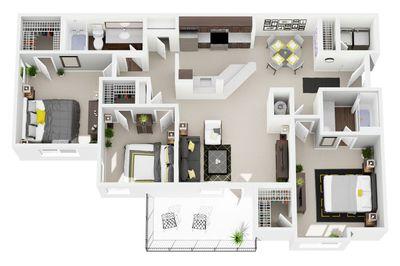 Layout of 3 Bedroom, 2 Bathroom floor plan