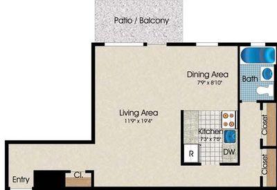 Layout of Studio floor plan