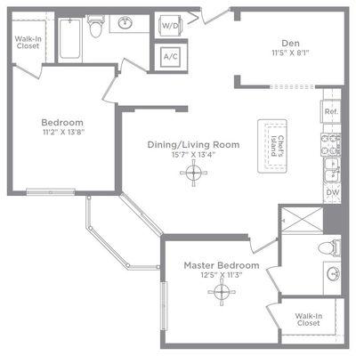 Layout of Bordeaux 1D floor plan