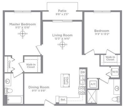 Layout of Bordeaux 2A floor plan
