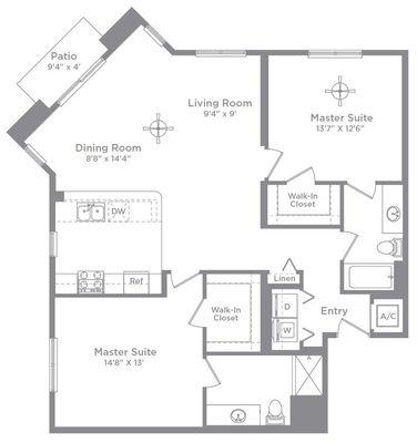 Layout of Bordeaux 2C floor plan