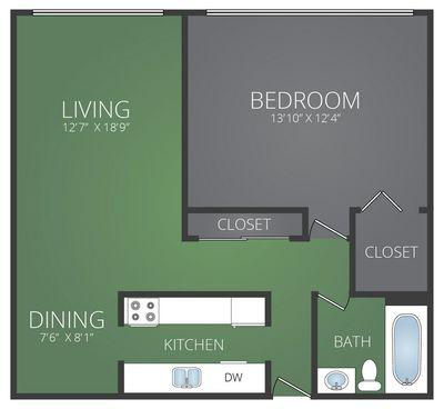 Layout of Renovated - 1 Bedroom 1 Bath  floor plan