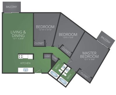Layout of Renovated - 3 Bedroom 2 Bath floor plan