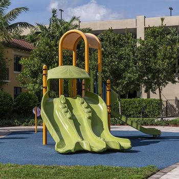 Outdoor playground with slides