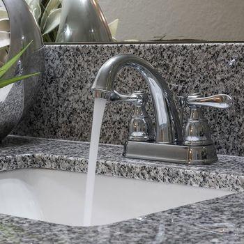 Bathroom sink with granite countertops