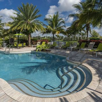 Community swimming pool surrounded by lush greenery and palm trees.