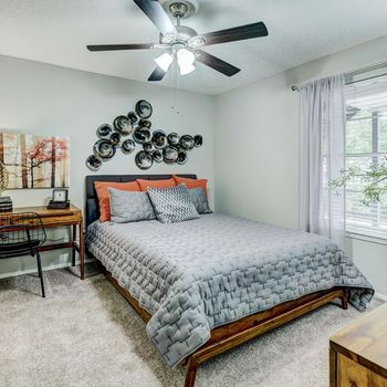 Bedroom with bed and ceiling fan