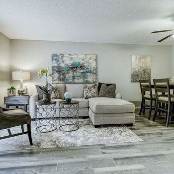 Living and dining area with hard flooring
