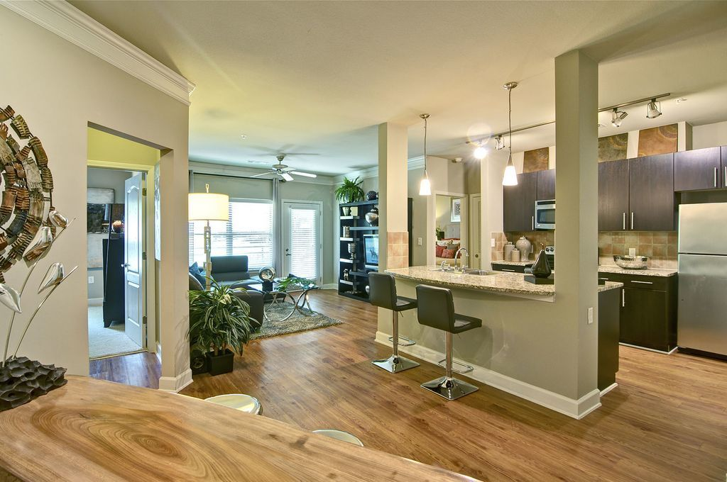 Apartment with Wood Floors and Open Floor Plan