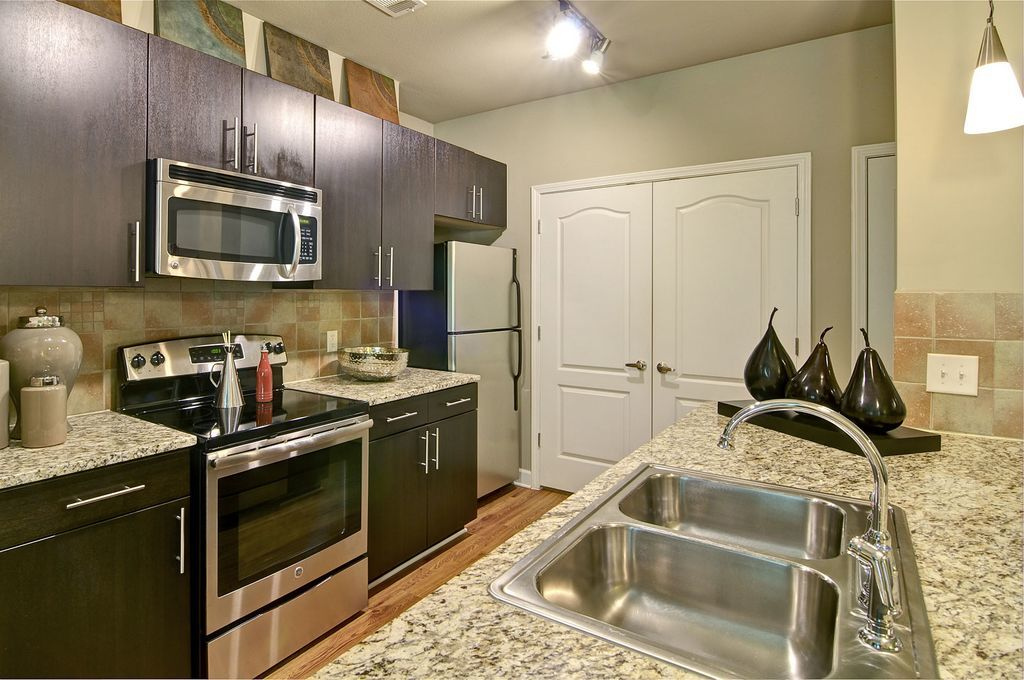 Kitchen with Double Sink and Gooseneck Faucet