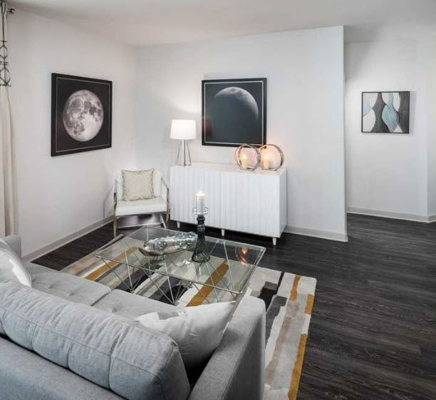 Apartment living area with seating